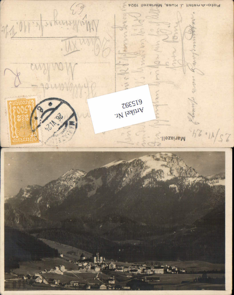 615392,Mariazell Maria Zell Totale pub J. Kuss 1927