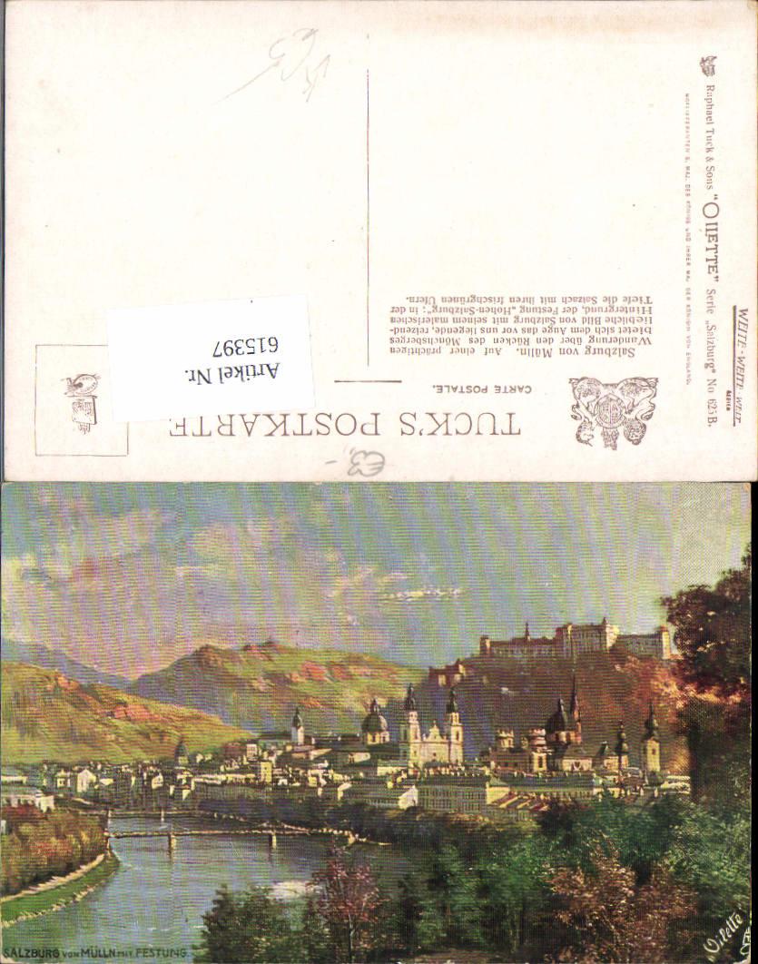 615397,Künstler AK Salzburg von Mülln Festung üub Raphael Tuck 625 B
