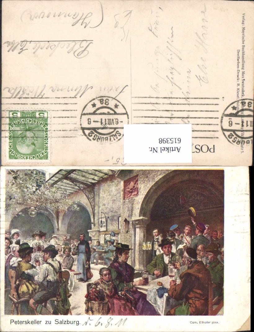 615398,Künstler AK Com. Ethofer Salzburg St. Peter Peterskeller Bier