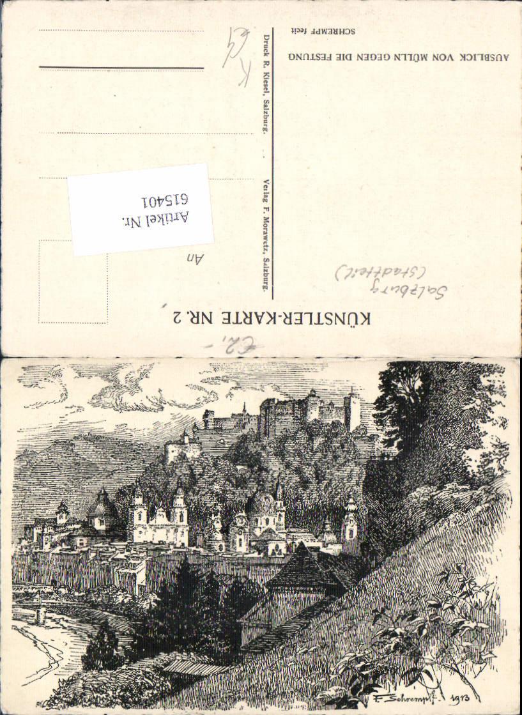 615401,tolle Künstler AK F. Schrempf Salzburg Mülln Festung