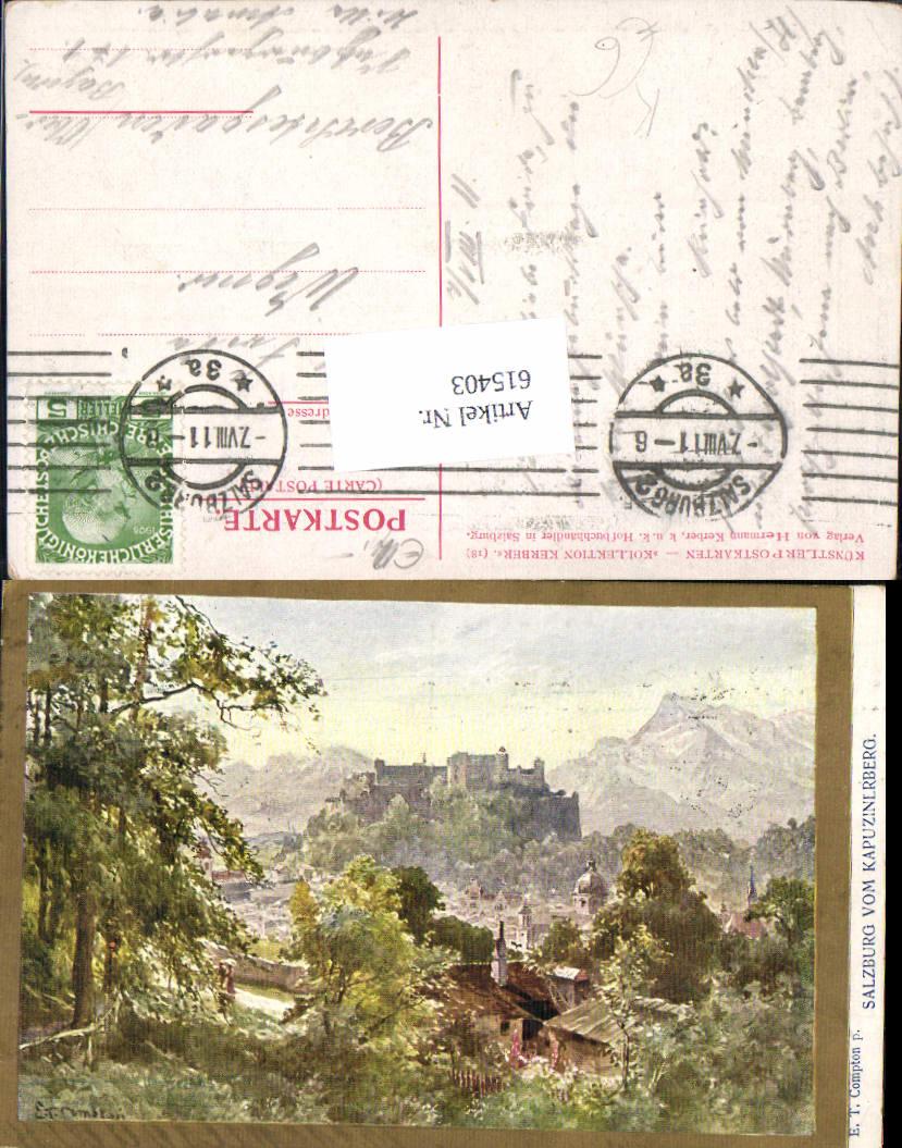 615403,Künstler AK E. T. Compton Salzburg v. Kapuzinerberg