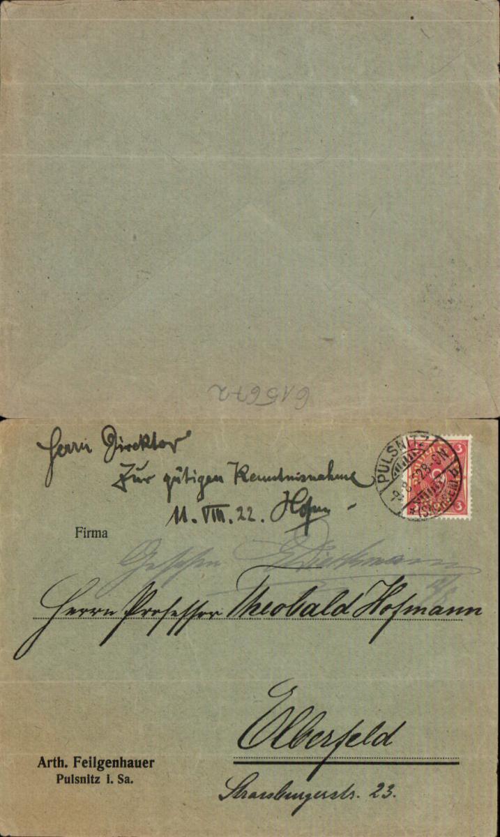 615672,Brief Umschlag Pulsnitz 1922 n. Elberfeld oh. Inhalt
