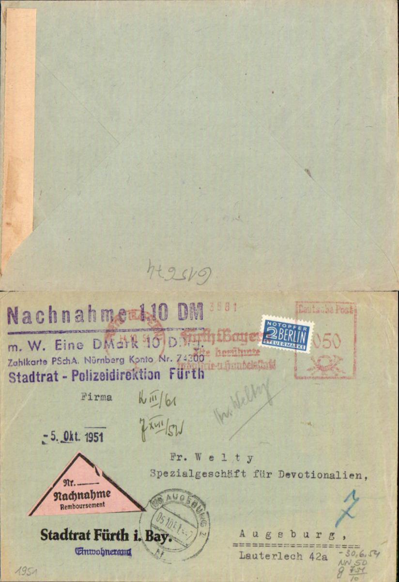 615674,Beleg Nachnahme Brief Stadtrat Polizeidirektion Fürth in Bayern n. Augsburg Lauterlech