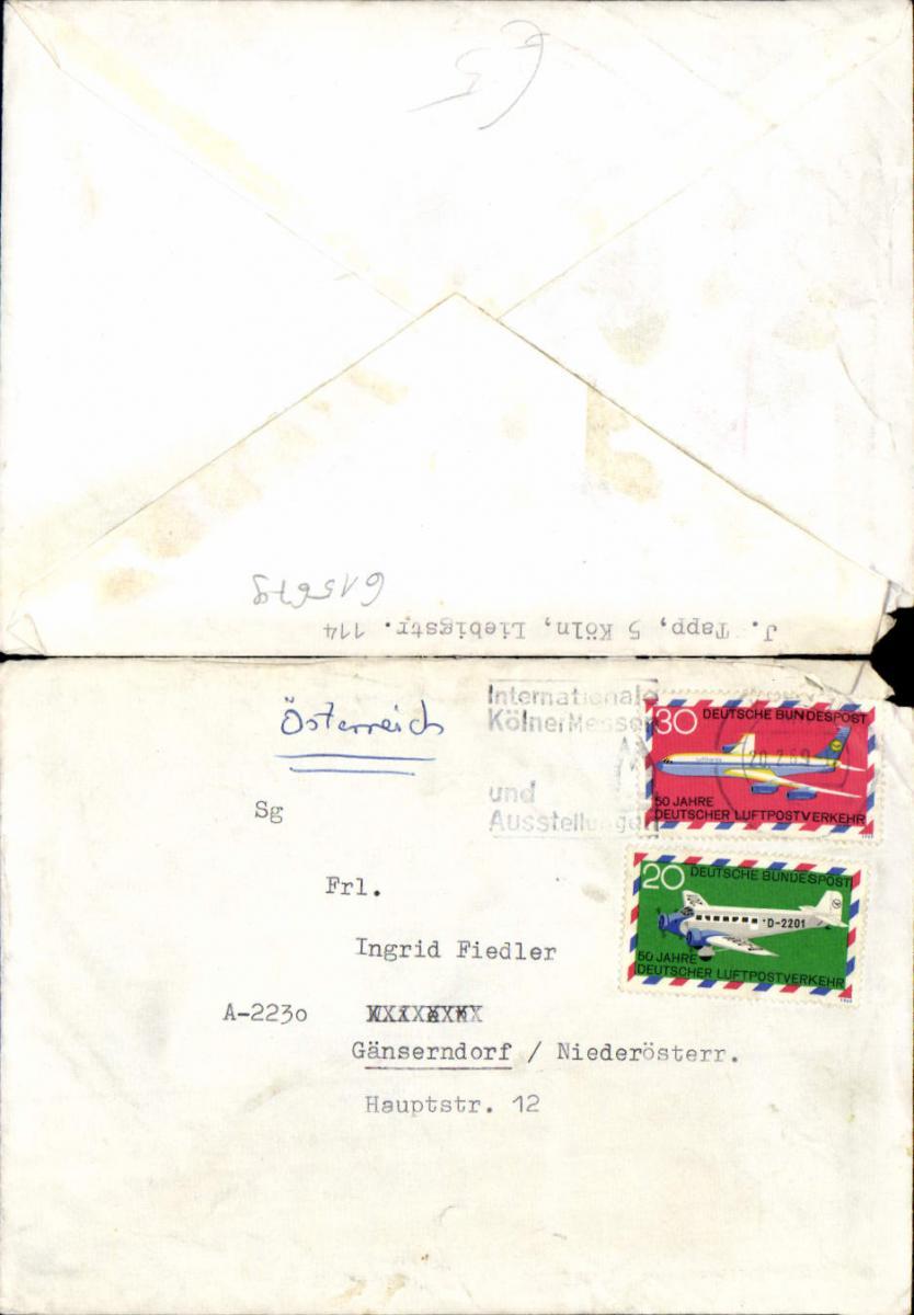 615679,Brief Kölner Messe Ausstellung Köln 1969 n. Gänserndorf mit Inhalt