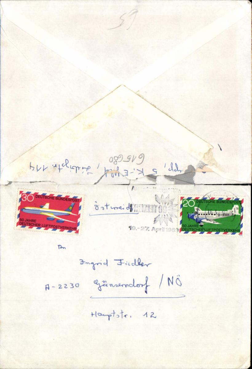 615680,Brief Köln 1969 n. Gänserndorf mit Inhalt