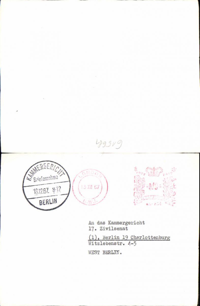615681,Beleg Stempel 1967 Berlin Kammergericht Charlottenburg