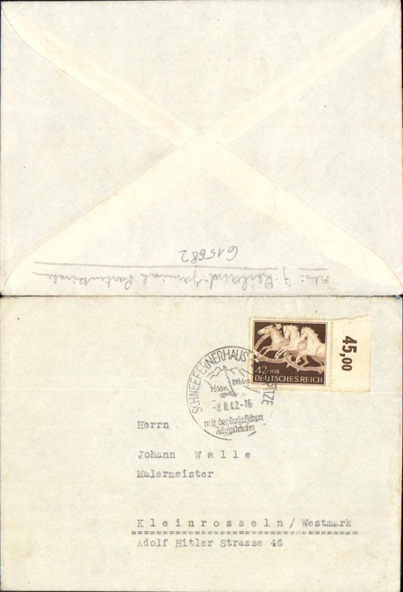615682,Schneefernerhaus Zugspitze Kleinrosseln Westmark 1942
