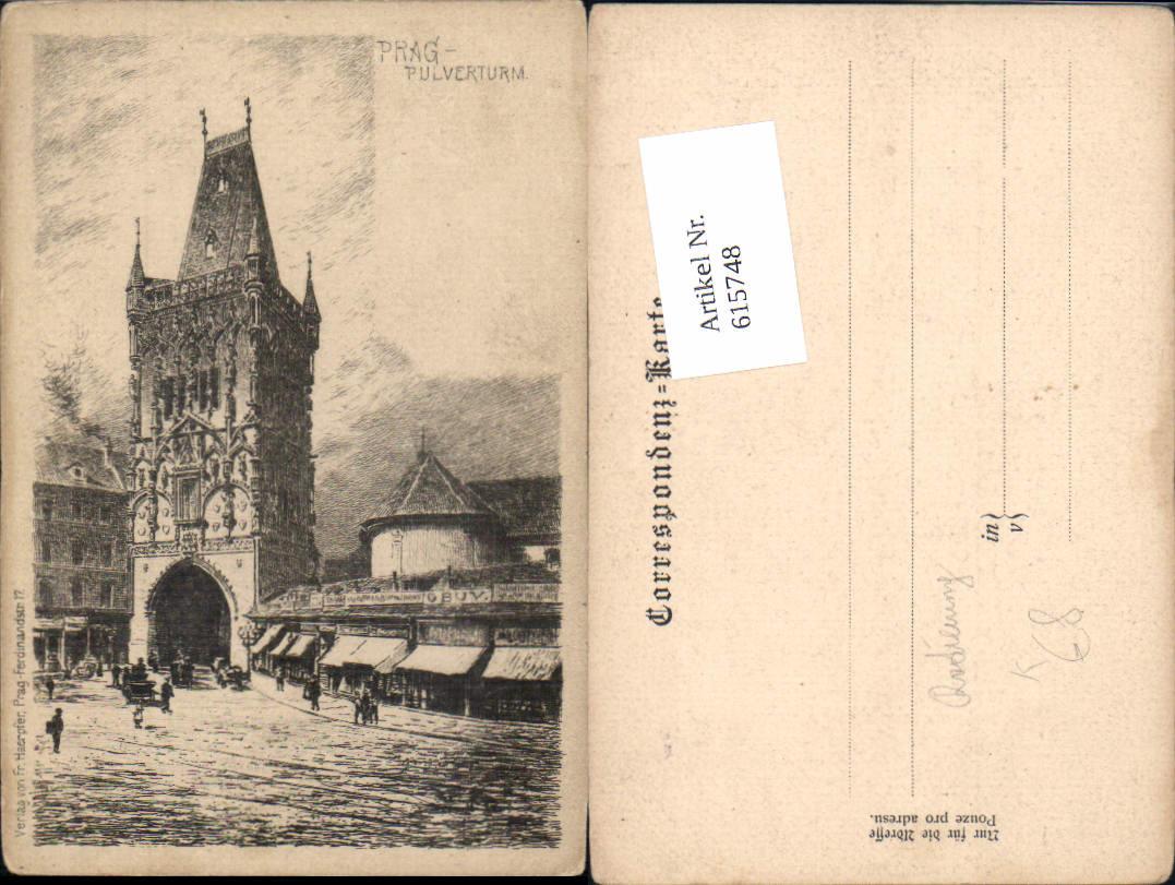 615748,Künstler AK Radierung Prag Praha Pulverturm