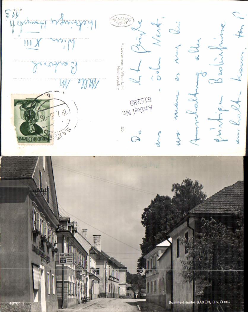 615289,Saxen Böhms Gasthaus Linzer Bier Reklame Straßenansicht