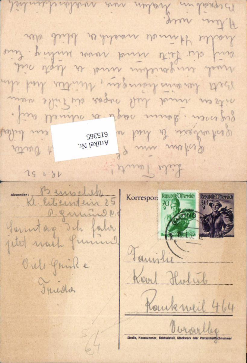 615365,Stempel Gmünd n. Rankweil 1952