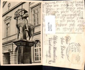 617753,Foto Ak Haldensleben Roland Denkmal Reiterdenkmal