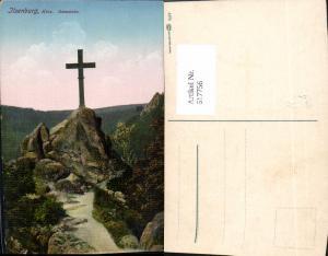 617756,Künstler Ak Ilsenburg Harz Ilsenstein Kreuz