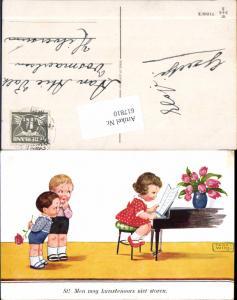 617810,Künstler AK John Wills Willi Scheuermann Klavier Kinder