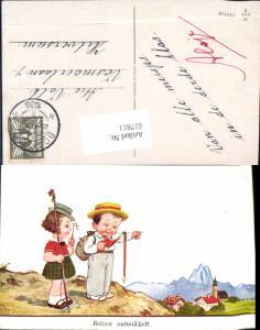 617811,Künstler AK John Wills Willi Scheuermann Wanderer Lesen Kinder
