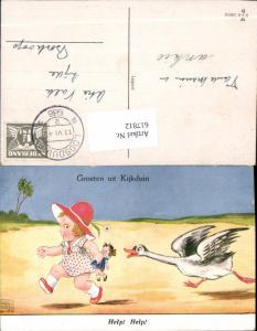 617812,Künstler AK John Wills Willi Scheuermann Puppe Gans Mädchen Humor