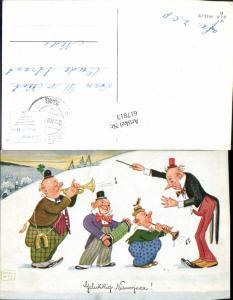 617813,Künstler AK John Wills Willi Scheuermann Neujahr Humor