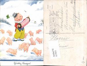 617815,Künstler AK John Wills Willi Scheuermann Schweine Ferkel Neujahr
