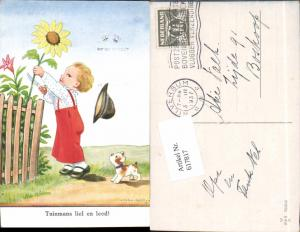 617817,Künstler AK John Wills Willi Scheuermann Humor Sonnenblume Hund Kind