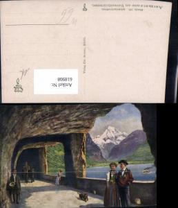 618908,Künstler Ak Hoffmann Axenstrasse a. Vierwaldstättersee Flüelen Sisikon Schweizer Tracht Hund