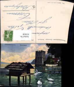 619038,Vierwaldstättersee Stansstad Wachtturm Turm Schwan Schwäne pub E. Goetz 4417