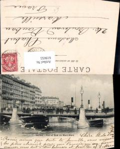 619055,Geneve Genf Pont et Quai du Mont Blanc Brücke Schiffe Dampfer