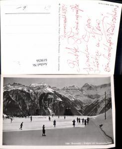 619056,Foto Ak Braunwald Eisbahn m. Hausstockkette Eislaufen Wintersport