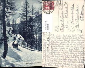 619075,Pontresina Berninastrasse i. Winter Pferdeschlitten Winteransicht