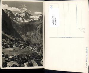 619083,Foto Ak Wengen m. Grosshorn Breithorn u. Tschingelhorn