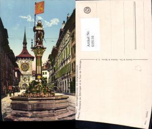619116,Bern Berne Zähringerbrunnen m. Zeitglockenturm Brunnen