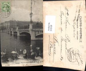 619128,Geneve Genf Pont du Mont Blanc Schwan Schwäne Brücke