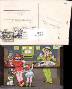 619143,Künstler AK Margret Boriss Post Briefkasten Briefe Kinder Postwesen Humor