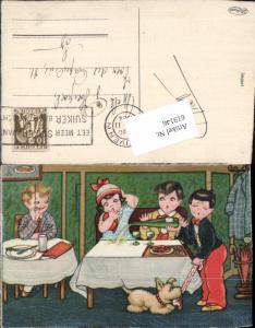 619146,Künstler AK Margret Boriss Humor Sekt Kinder Puddel Hund