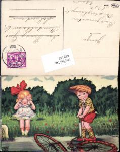 619147,Künstler AK Margret Boriss Humor Mädchen weint Fahrrad Rad Panne