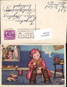 619148,Künstler AK Margret Boriss Humor Hund Obdachloser Kind Teekanne Tee