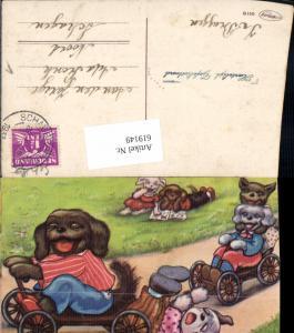 619149,Künstler AK Margret Boriss vermenschlichte Hunde Humor Bonzo Lesen