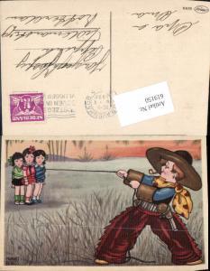 619150,Künstler AK Margret Boriss Cowboy Kind Humor gefesselte Mädchen Pfeiffe