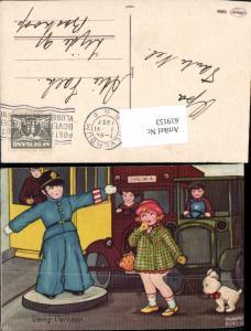 619153,Künstler AK Margret Boriss Hund Kinder Polizist Verkehr Autos Humor