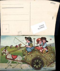 619157,Künstler AK Margret Boriss Landwirtschaft Humor Kinder Heu Schmetterling
