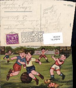 619158,Künstler AK Margret Boriss Fussball Humor Hund Scheveningen Sport