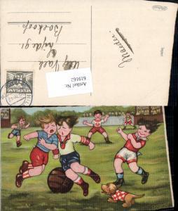 619162,Künstler AK Margret Boriss Fussball Hund Humor Dackel