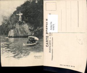 619273,Meggenhorn b. Luzern Statue a. Ufer Ruderboot Boot pub E. Goetz 1753