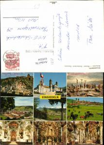 619334,Mehrbild Ak Einsiedeln Kreuzigungszene i. Panorama Kloster