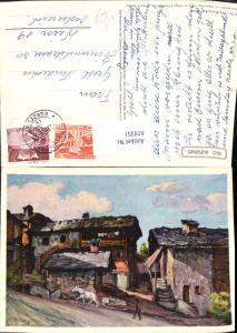 619351,Künstler Ak Ch. Wuthrich Dorfplatz in Nendaz Place du Village a Haute-Nendaz
