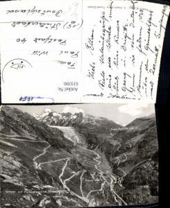 619390,Foto Ak Gletsch Grimsel u- Furkastrasse m. Rhonegletscher Gletscher