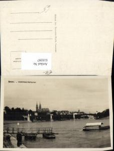 619397,Foto Ak Basel Wettsteinbrücke Boot