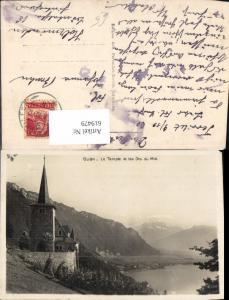 619479,Foto Ak Glion Montreux Le Temple et les Dents du Midi