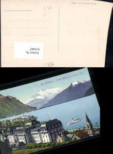 619487,Montreux Palace-Hotel et la Dent du Midi Schiff Dampfer