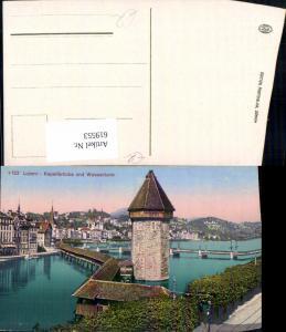 619553,Luzern Kapellbrücke u. Wasserturm Turm