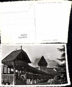 619556,Foto Ak Luzern Kapellbrücke Brücke Wasserturm Turm