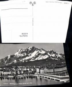 619558,Foto Ak Luzern Bahnhof u. Pilatus Brücke